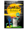 halloween party banner with zombie in cemetery vector image vector image