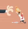 Hand grabbing money bag vector image vector image