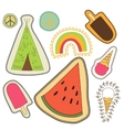 happy embroidery colorful patches collection vector image vector image