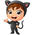 happy kid wearing cat costume waving hand vector image vector image