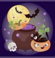 hell potion cartoon halloween holiday vector image