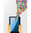 Human hands holds tablet pc with app icons vector image vector image