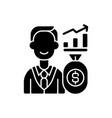 investor black glyph icon vector image vector image