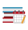 Isolated books calendar and pencil design vector image vector image