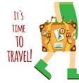 its time to travel girl carrying baggage backgroun vector image