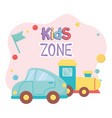 Kids zone blue car and train plastic objects