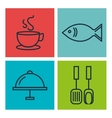 Kitchen utensils and food isolated icons