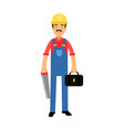 male construction worker character standing with vector image vector image