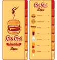 menu for fast food vector image vector image