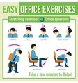 Office exercises with businessman character vector image