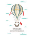 onboarding page with hot air balloon among clouds vector image vector image