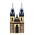 pixel prague tyn church city symbol detailed vector image