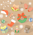Seamless HolidayPattern with Christmas Symbols vector image