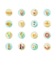 set fast food icons on web buttons vector image vector image