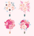 set wedding bouquets vector image vector image