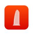 skyscraper icon digital red vector image vector image