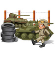 Soldier and military tanks vector image vector image
