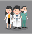 variety of doctor cartoon set vector image vector image