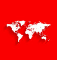 white world map on red background vector image