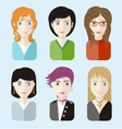 Women avatars portraits on blue background vector image