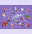 worker professions isometric flowchart vector image vector image