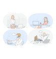 working in office laptop modern company interior vector image