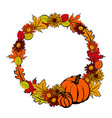 wreath with autumn leaves vector image vector image