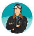 male pilot in jacket and leather aviator hat with vector image