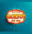 jackpot lighting banner big win vector image