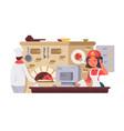 kitchen in pizzeria vector image