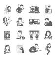 Pop Singer Icons Set vector image