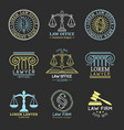 law office logos set with scales of justicegavel vector image