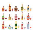alcohol bottles and glasses alcoholic bottle vector image