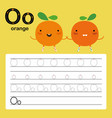 alphabet o worksheet learning english vocabulary vector image vector image