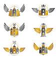 ancient citadels emblems set heraldic design vector image vector image