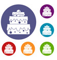 big cake icons set vector image vector image