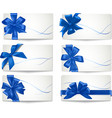 big set of blue gift bows with ribbons vector image vector image