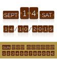 brown flat calendar with analog flip timer vector image vector image