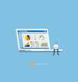 businessman analysis web statistics charts on vector image vector image