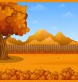 cartoon autumn landscape wooden fencemountains vector image
