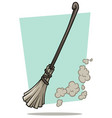 cartoon broom cleaner and dust icon vector image