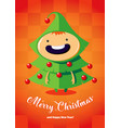 christmas card with boy in the christmas tree vector image vector image