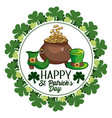 clovers with cauldron and hat sticker to st vector image vector image