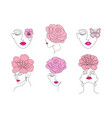 collection women faces vector image vector image