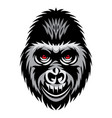 color with gorilla head white vector image vector image