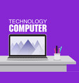 computer technology labtop on working table backgr vector image