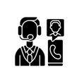 customer service department black glyph icon vector image vector image