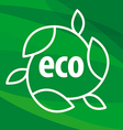 eco logo in the shape of the leaves on a green vector image vector image