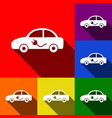 electric car sign set of icons with flat vector image vector image