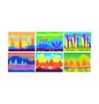 flat set of cartoon seamless backgrounds vector image vector image